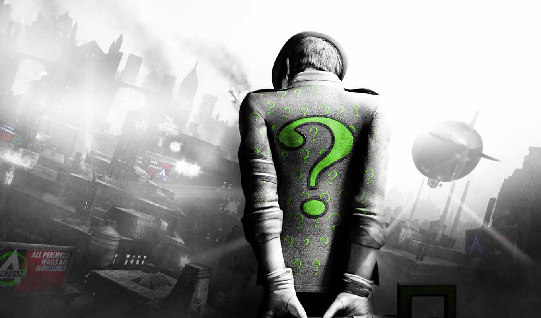 город, arkham, batman, riddler, загадочник, зелёный,