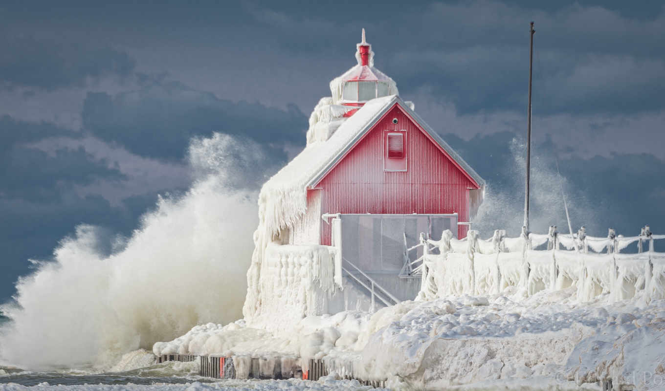 grand, haven, michigan, lighthouse, pier, озеро, frozen,