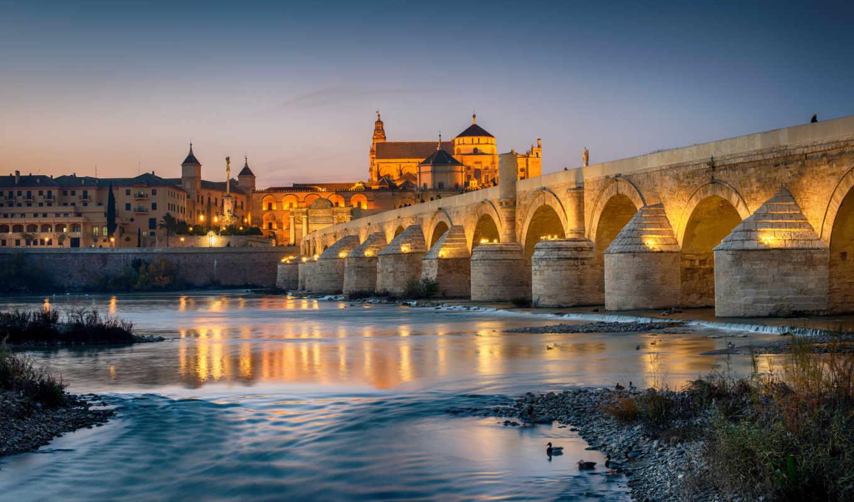 ночь, города, испания, мосты, reki, фонари,