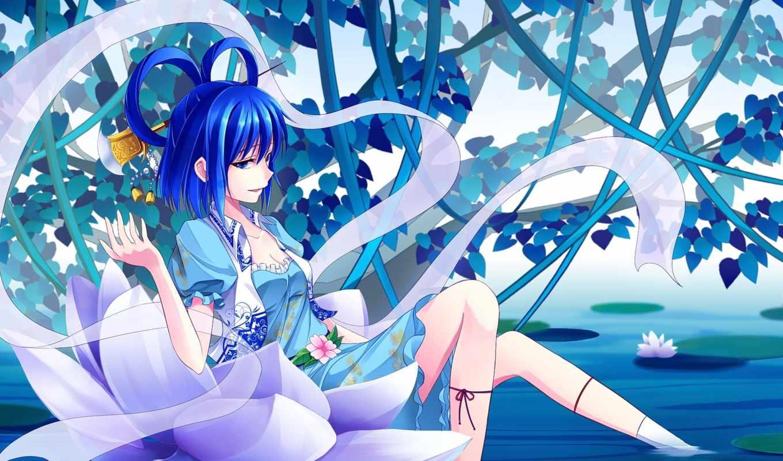 anime, девушка, water, lotus, art, touhou, shinebell, kaku,