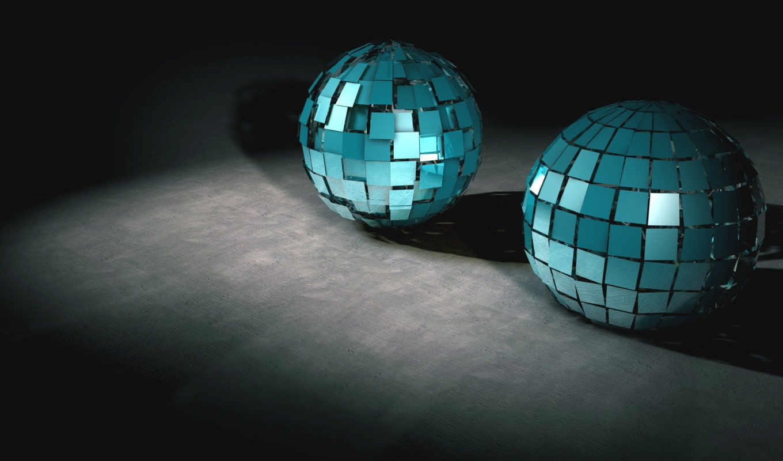 графикой, трехмерной, фона, balls, диско, шар, mirrors, desktop, картинку, بعدی, kugeln, computer, der, part, platten, два, бирюзовых, шара, zwei, gespiegelten, collection,