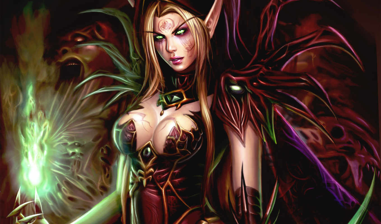 warcraft, world, elf, wow, blood, кровавая, fantasy, fire, art, creating, рисунки, грудь,