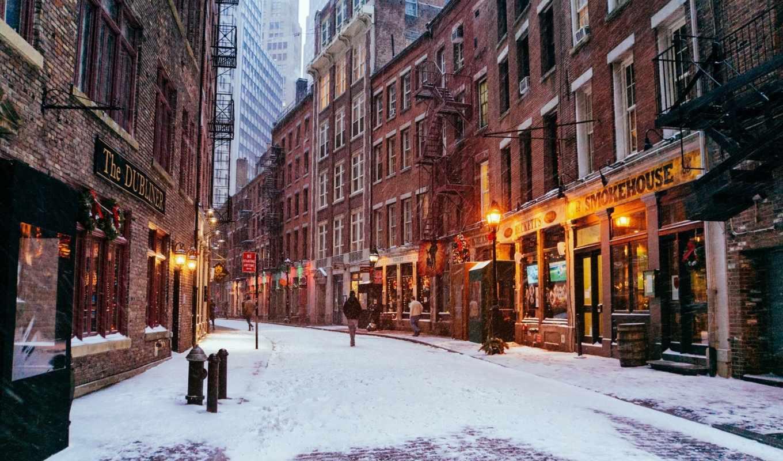 улица, york, new, usa, картинка, зимняя, город, district,