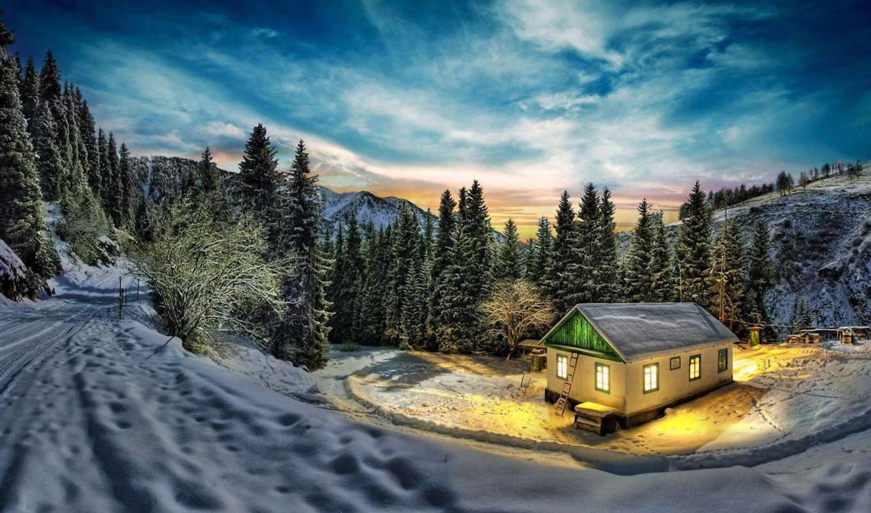 домик, лесу, горы, снежные, пейзажи -, bergsdalen, норвегия,
