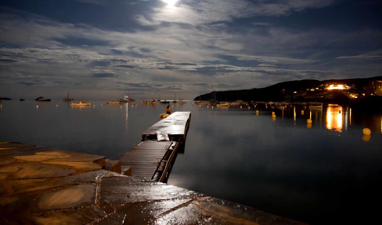 озеро, ночь, мост, причал, landscape, море, пейзажи -, река, бесплатные,