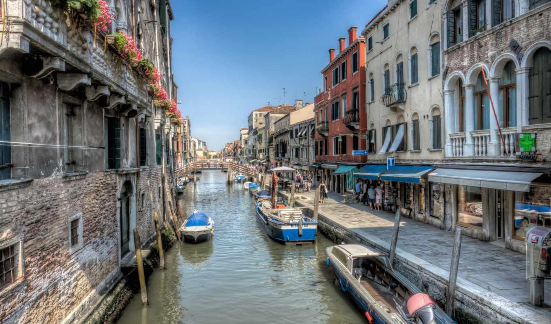 venezia, канал, italian, лодки, город, улица, water, набережной,