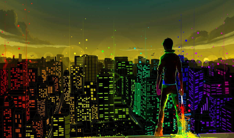 город, human, краска, девушка, небо, горизонт, категория