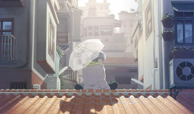 dramatical, убийство, clear, зонтик, sit, крыша, плащ, солнечный, под, white, парень