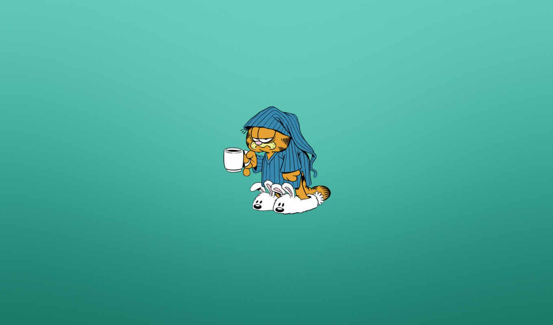 гарфилд, кот, пижама, утро,