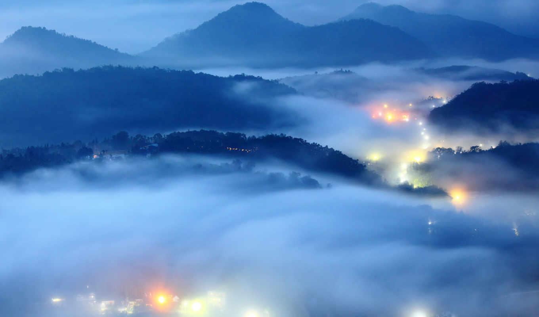 огни, туман, утро, вечер, долина, картинка,