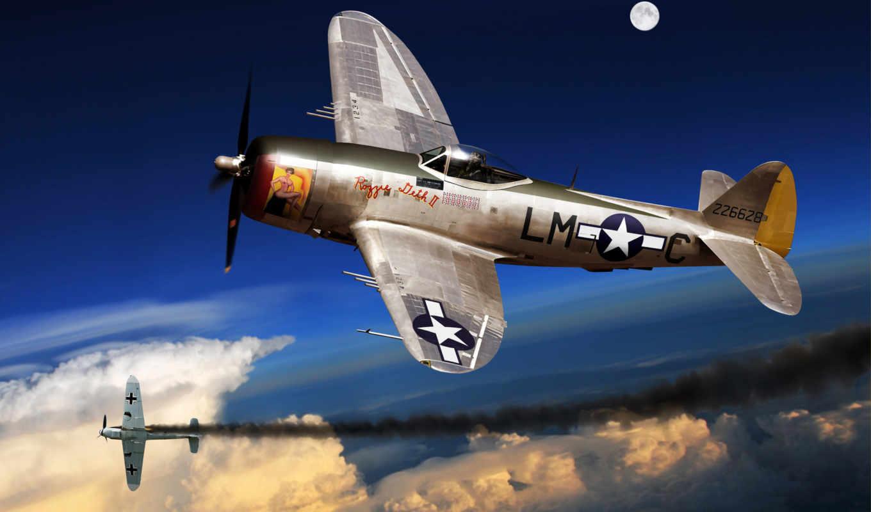 самолёт, арт, истребитель, бомбардировщик, красивые, авиация, только, заставки, thunderbolt, ежедневно,