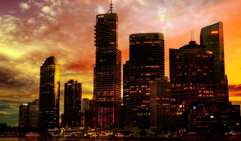 город, закат, города, мегаполис, нью,