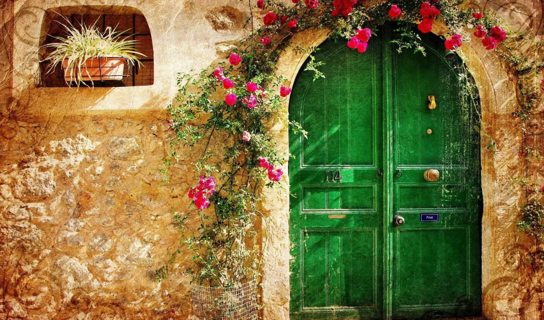 старый, город, дверь, vintage, камень, малиновые, цветы, loveliness, house, pattern,