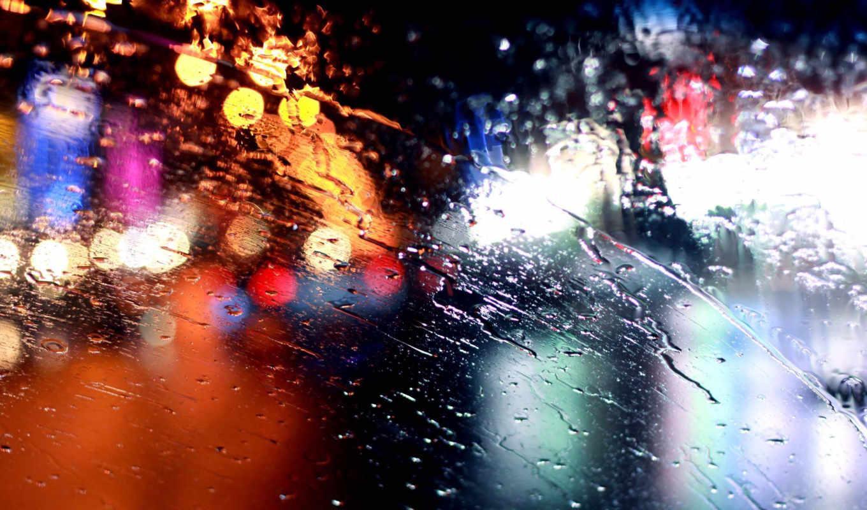 steklo, дождь, дождь, огни, bokeh, капли, makro,