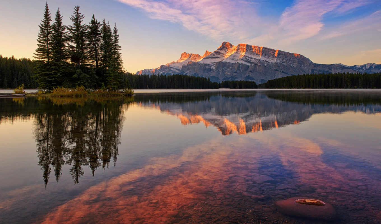 park, канада, national, банф, горы, озеро, небо,