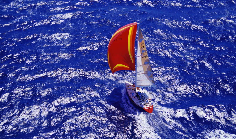 sailboat, море, яхта, корабль, сверху,