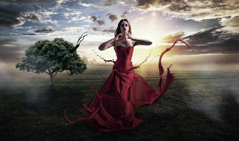 живопись, природа, девушка, fantasy, clouds, landscape, платье, фон,