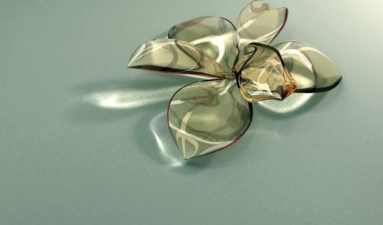 бабочки, decoration, стекляные, виде, хрустальное, лежит, обойки, столе, лепестки, цветка, цветы,