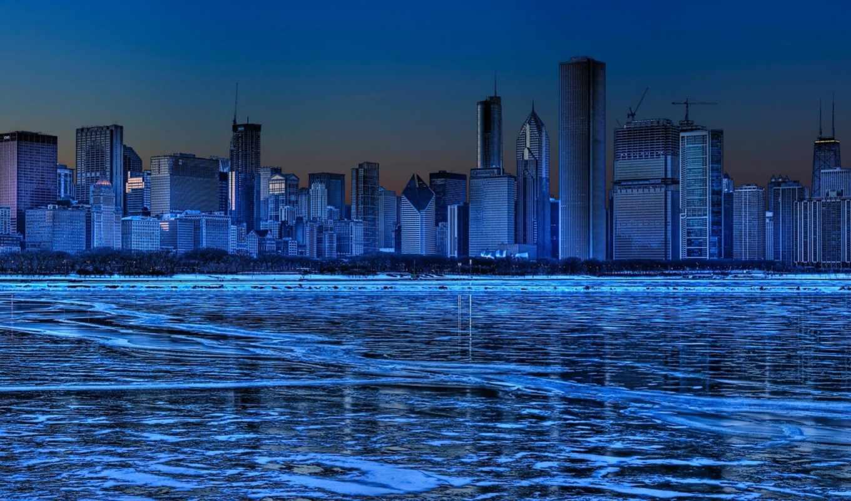 лед, город, winter, небоскребы,