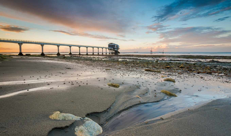 море, природа, пляж, рассвет, pier, добавить