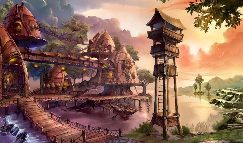 игры, ether, saga, картинка, игра, online, поселение, пост, дорога, река, лодка, дома, наблюдательный, games, компьютерные, видео,