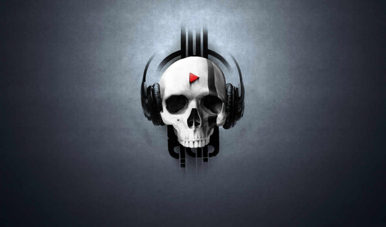 череп, наушники, headphones, play, музыка, with,