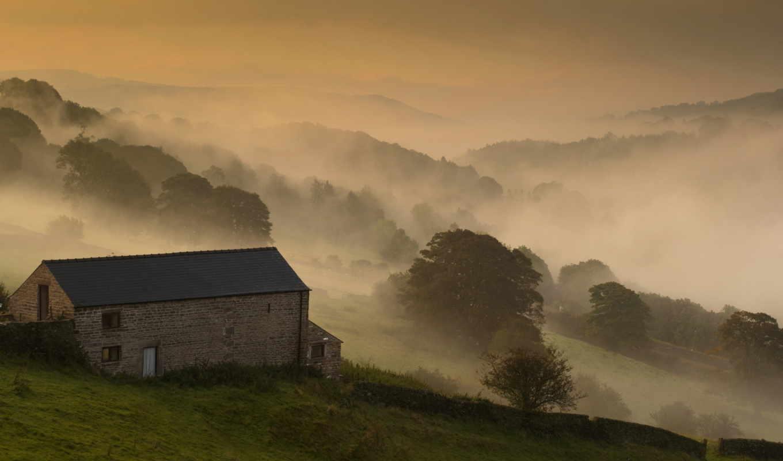 дом, поле, пейзаж, туман, утро,
