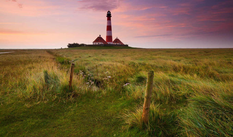 маяк, ветер, травы, небо, закат, вечер, природа, germany, die, картинка,