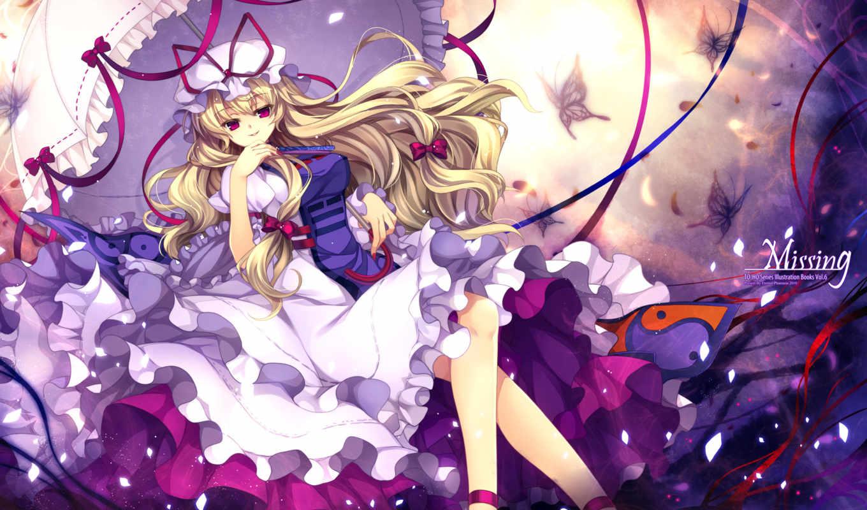 touhou, yukari, yakumo, capura, lin, anime, eyes, collection, purple, blondes, umbrella, tags, hair, umbrellas, art,