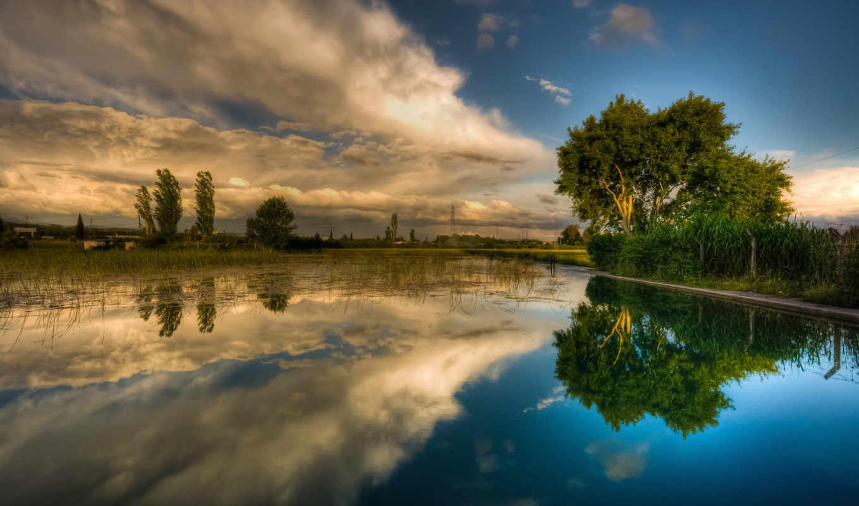небо, весна, лето, облака, озеро, деревья, воде, отражение, картинка,