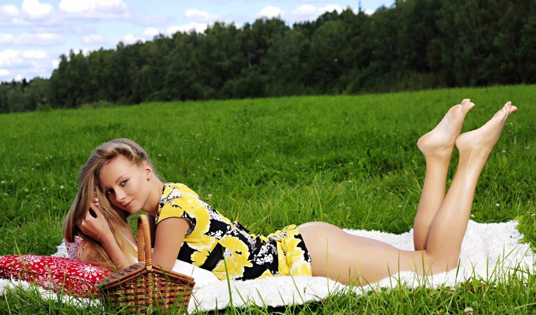 девушка, девушек, траве, красивых, девушки, подборка, февр,
