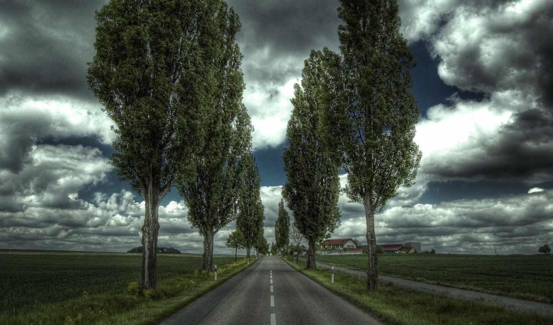 изображение, дорога, небо, утро, терещенко, trees, house, clouds, mountains, других,