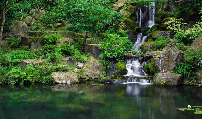 водопад, вид, трава, summer, озеро, камни,