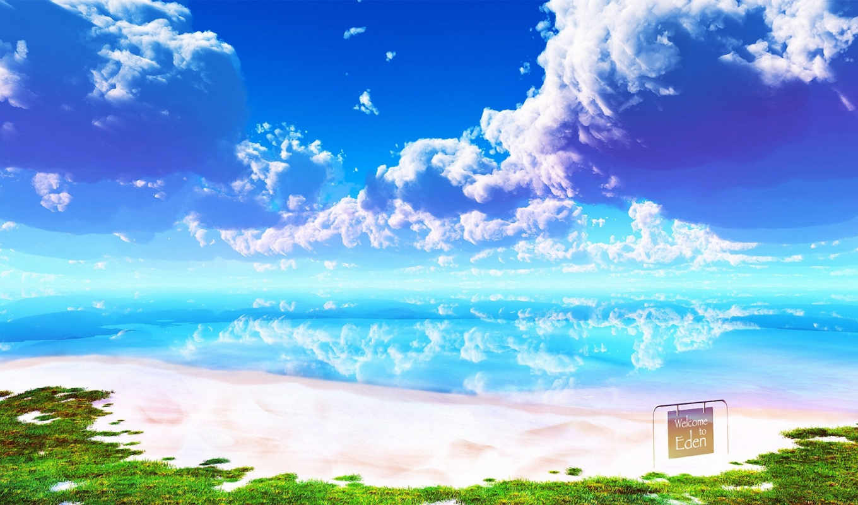 небо, море, oblaka, пляж, рай, landscape, природа, картинка,