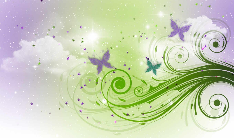 ,бабочки, блестяшки, vector, изображений, завитки, облака,