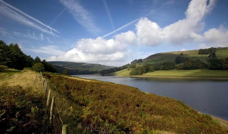 лес, река, поле, небо, oblaka, summer, берега, взгляд, осень,