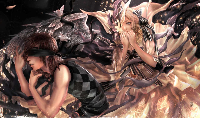повязка, парень, крылья, банты, девушка, xilveroxas, ангел,