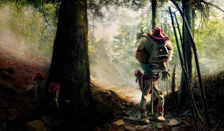 лес, монстр, грибы, scary,