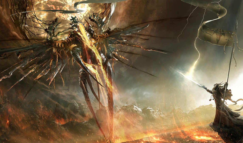 арт, демон, меч, воин, девушка, молния, флаг, крылья, демоны, рейтинг, diablo, горы, фантастика, игры, сайте, фильмы,