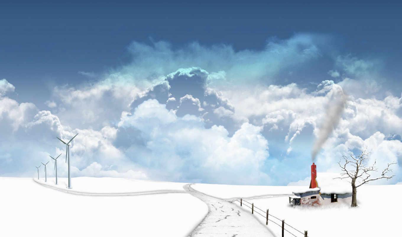 winter, дорога, природа, бе, zima, облака, небо,