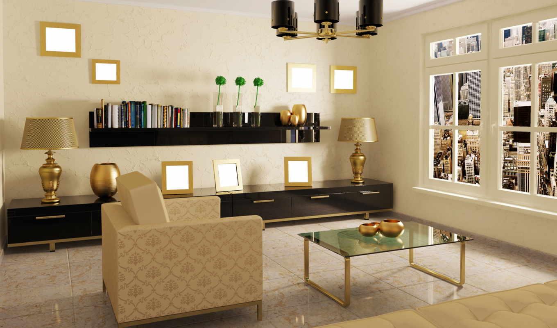 комната, кресло, столик, диван, окно,рамки,