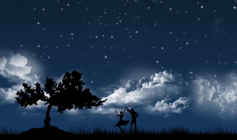 пара, stars, love, dancing, ночь, луна, dance, телефон,