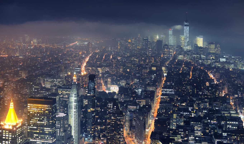gorod, городской, пейзаж, york, new, ночной, noch, район, небоскрёба