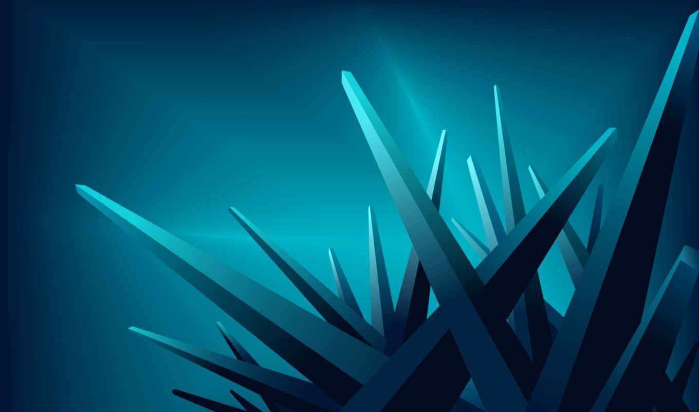 обои, углы, кристалы, синие, лучи, телефоны, игла,