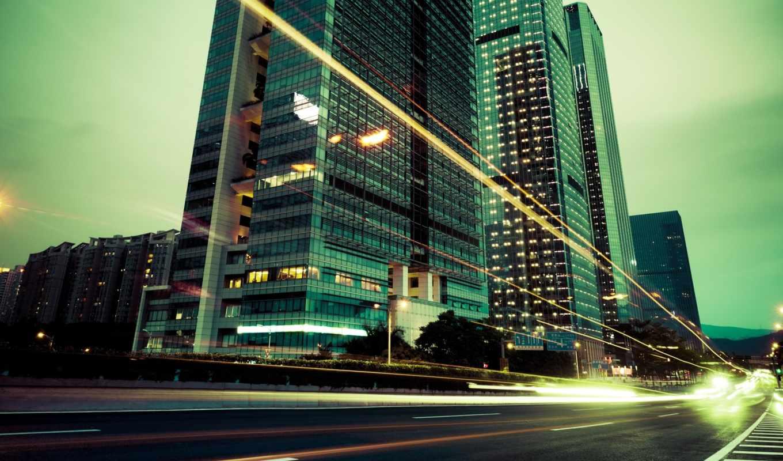 город, огни, дорога, здания, вечер, города, iphone,