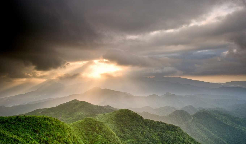 горы, лучи, тучи, солнце, долина, небо, зелень,