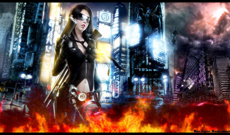 девушка, оружие, нояб, город, cyberpunk,