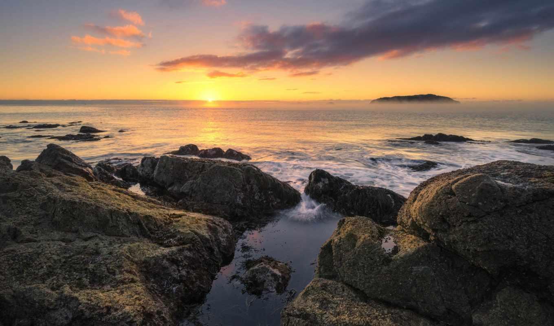 free, природа, картинка, скалы, горизонт, пляж, ocean,