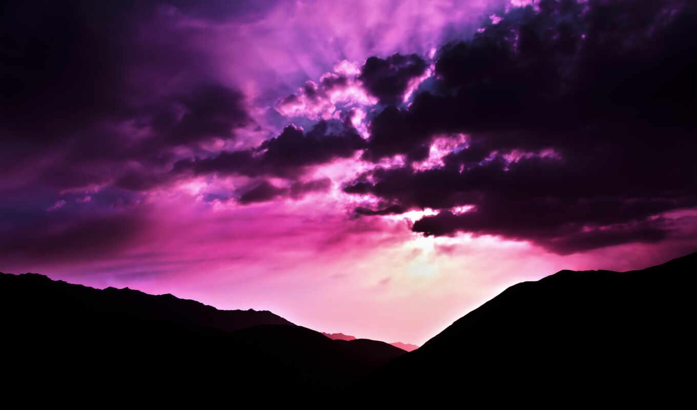 закат, розовое, небо, purple, закате, favourite, со,
