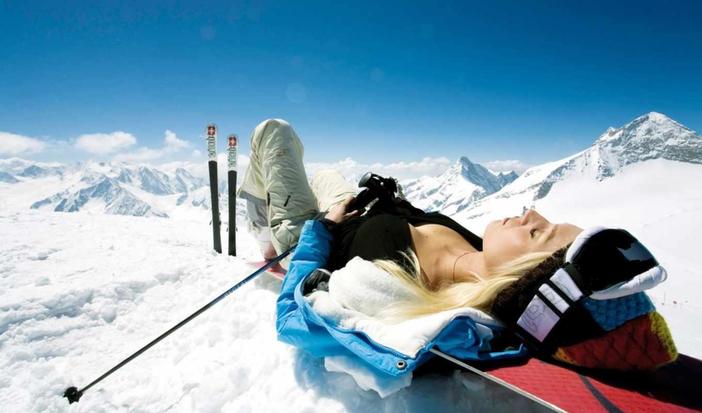 спины, зимой, девушка, blonde, блондинок,